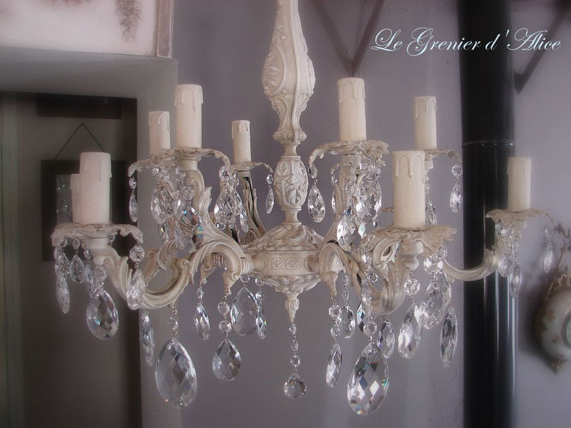 lustre patin pampilles chandelier french decor shabby. Black Bedroom Furniture Sets. Home Design Ideas