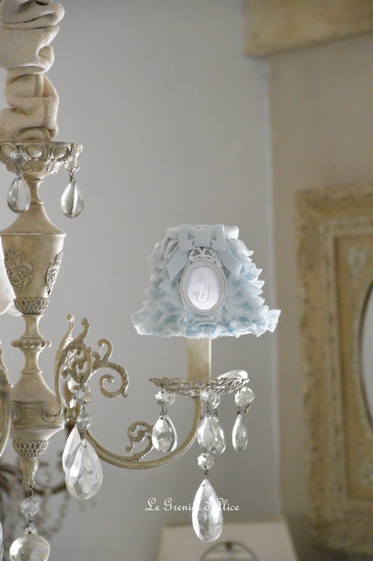 Abat jour froufrou lin broderie shabby chic romantique ruffle lamp shade