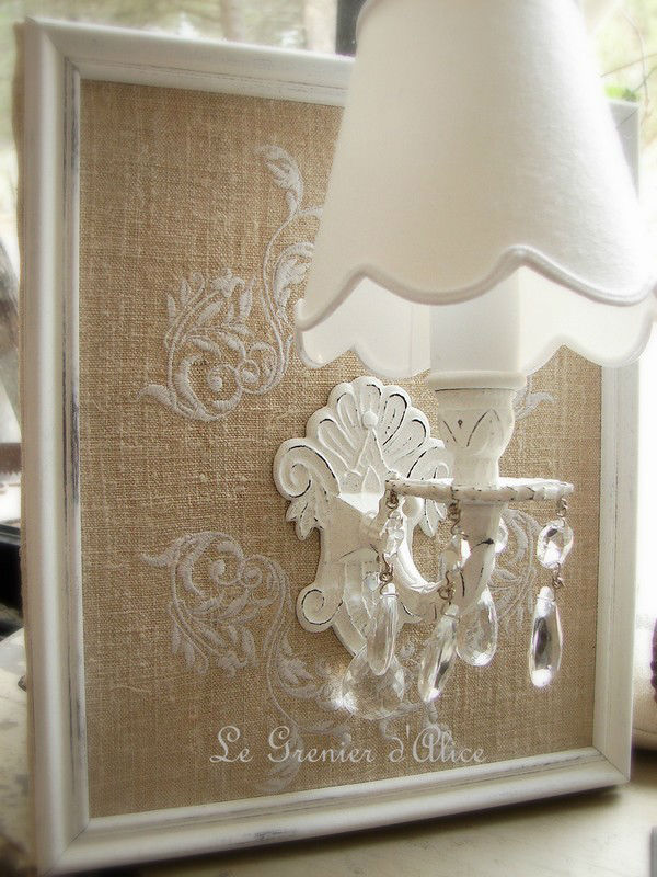 Applique broderie chanvre abj inclus shabby chic deco for Decoration chic et charme