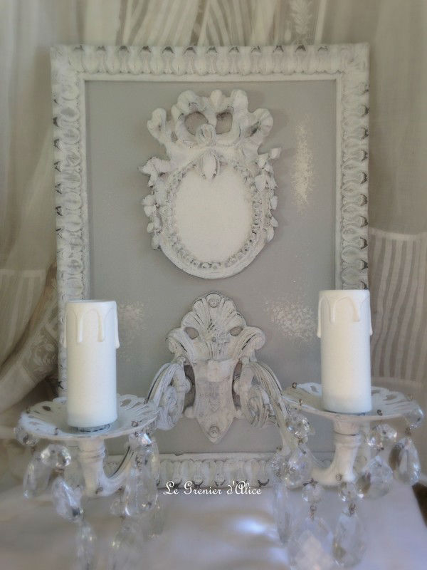 applique 2 branches m daillon romantique et shabby chic boutique. Black Bedroom Furniture Sets. Home Design Ideas