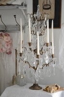 Candelabre girandole bougeoir 12 branches romantique shabby chic pampille cristal reproduction ancien decoration interieure cosy charme french cottage french style