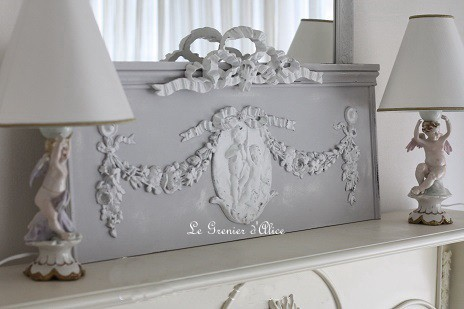 Fronton r sine m daillon anges haut de porte deco charme for Decoration murale romantique