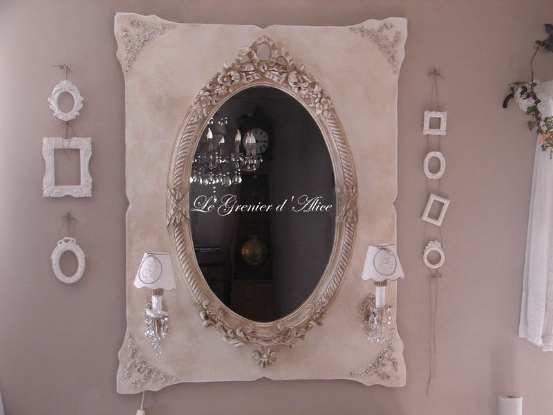 miroir patin oval romantique appliques anciennes shabby. Black Bedroom Furniture Sets. Home Design Ideas