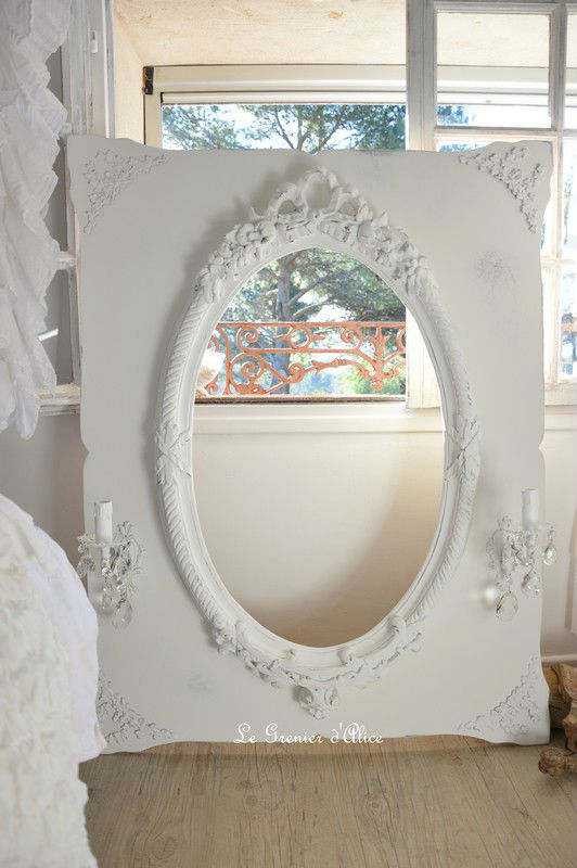 miroir patin oval romantique appliques anciennes shabby chic decoration de charme. Black Bedroom Furniture Sets. Home Design Ideas