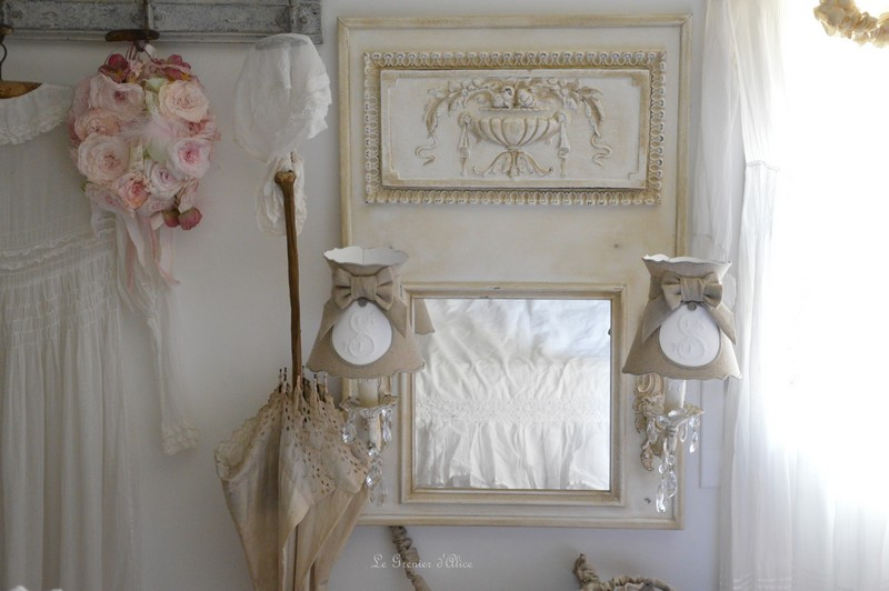 miroir trumeau romantique patin appliques anciennes pampilles cristal shabby chic decoration de. Black Bedroom Furniture Sets. Home Design Ideas