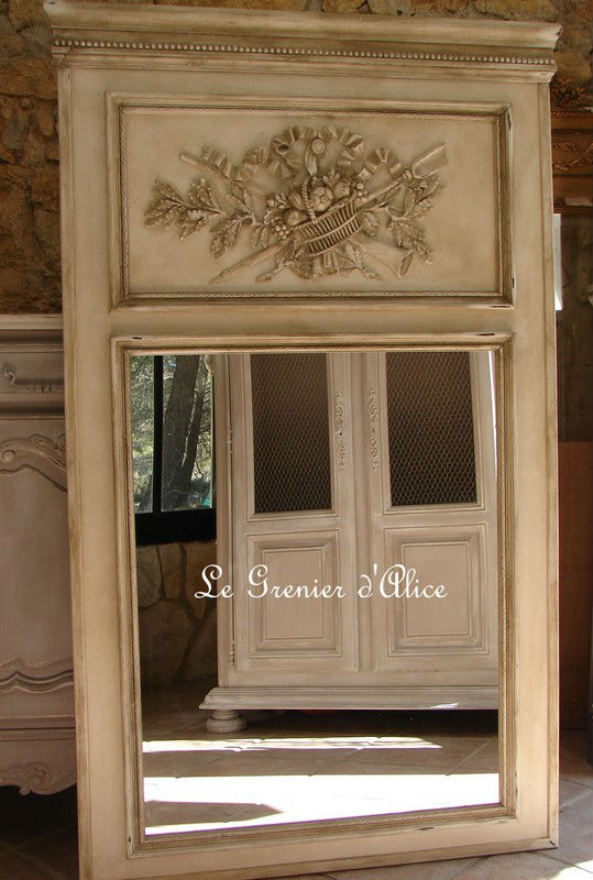 trumeau shabby chic decoration de charme motif forme attribut. Black Bedroom Furniture Sets. Home Design Ideas