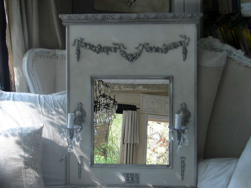 Trumeau miroir lumi res deco charme shabby chic for Decoration chic et charme