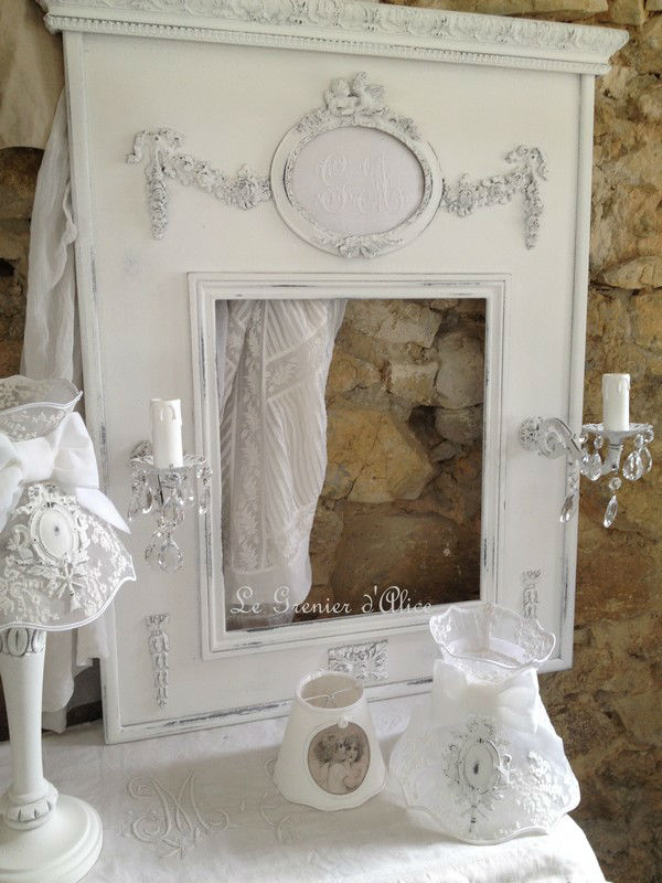trumeau ange monogramme shabby chic et romantique boutique. Black Bedroom Furniture Sets. Home Design Ideas